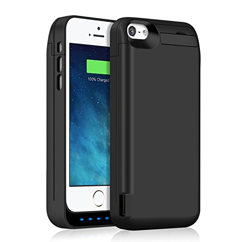 Battery Case for iPhone 5S/5SE/5C/5,5000mAh Rechargeable Charging Case for iPhone 5S 5SE Extended Charger Cover Apple 5C 5 Protective Battery Pack -Black