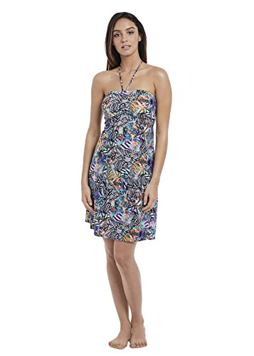 41Oo1uVnKBL Go from boardwalk to beach in in this cover-up dress Self-tie, non-adjustable stretch halter strap 29'' long from shoulders; measurement taken from size M