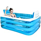 XL Blue Color Inflatable Bathtub Plastic Portable Foldable Bathtub Soaking Bathtub Home SPA Bath Equip with Electric Air Pump, 160x120x60cm