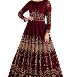 Fast Fashions Women's Embroidered Taffeta Silk Semi Stitched Anarkali Gown (Maroon_Free Size)