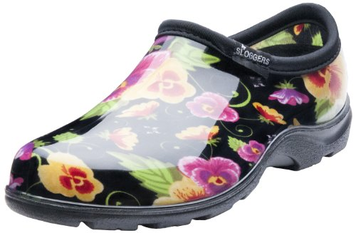 Sloggers Women's Waterproof  Rain and Garden Shoe with Comfort Insole, Pansy Black, Size 10, Style 5114BP10