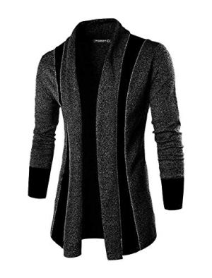 DENIMHOLIC Black Solid Lapel Collar Slim Fit Full Sleeve Men's Cardigan