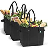 Reusable Grocery Shopping Bags, Foldable and Collapsible, Set of 3 - Large Tote Bags with Reinforced Bottom and Handles - Eco-Friendly Shop Bag Sets for Carrying Groceries, Errands, Traveling