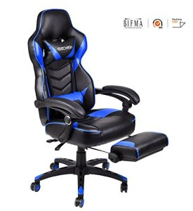 Ergonomic Computer Gaming Chair, Large Size PU Leather High Back Office Racing Chairs with Widen Thicken Seat and Retractable Footrest and Lumbar Support Video Game Chair 170 Degree Reclining (Blue)