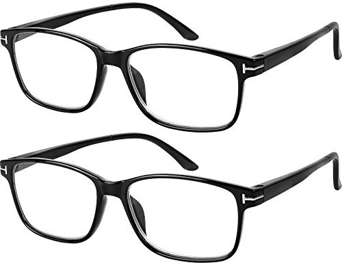Computer Glasses 2 Pairs Anti Glare Anti Reflection Classic Reading Glasses Quality Comfort Glasses for Men and Women +1