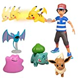 Pokémon Battle Figure Multi Pack Set with Launching Action - Includes Ash, Pikachu, Zubat, Eevee, Ditto and Bulbasaur - 6 Pieces - Ages 4+