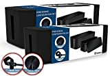 Cable Management Box Organizer [Set of 2 + Bonuses] [2019 Updated Design], Large & Medium Boxes, Black, Includes Cable Ties & Clips, Ultimate Bundle to Cover/Hide & Hold Cords/Wires/Power Strips