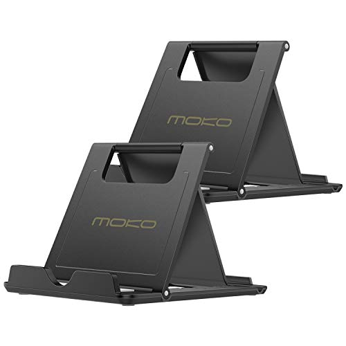 MoKo [2 Pack] Cellphone/Tablet Stand, Universal Foldable Multi-Angle Desktop Holder iPhone X/8/8 Plus/7/7 Plus, Galaxy S9/S9 Plus/Note 8/Note 9, iPad 10.5, Nintendo Switch, Black