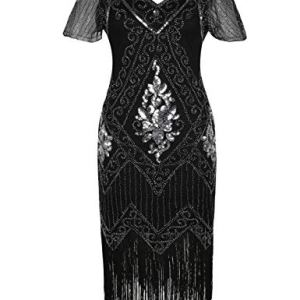 PrettyGuide Women's 1920s Dress Sequin Art Deco Flapper Dress with Sleeve 16 Fashion Online Shop Gifts for her Gifts for him womens full figure