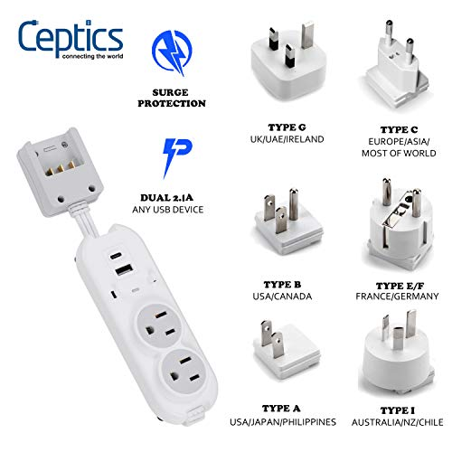 Travel Power Strip by Ceptics - Small & Compact - Surge Protector - Grounded USB + Type C - 2 USA Outlets Input - Plugs for Europe, Asia, China, USA, South America