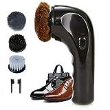 Electric Shoe Shine Kit, Hitti Electric Shoe Polisher Brush Shoe Shiner Dust Cleaner Portable Wireless Leather Care Kit for Shoes, Bags, Sofa (Black)