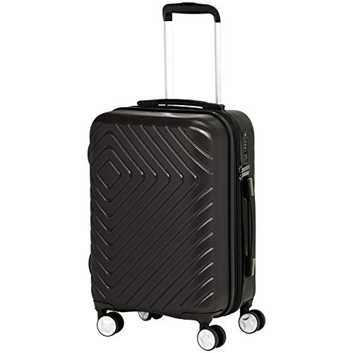 AmazonBasics Geometric Luggage Expandable Suitcase Spinner 20-Inch Cabin Size, Black