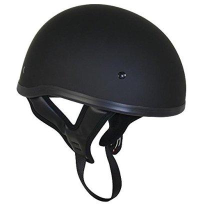 DOT Flat Black Motorcycle Skull Cap Half Helmet