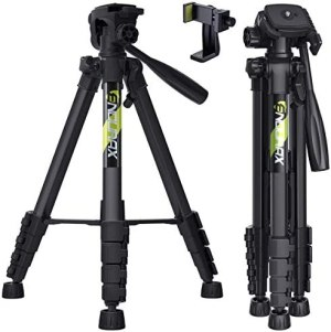 Endurax 66″ Video Camera Tripod for Canon Nikon Lightweight Aluminum Travel DSLR Camera Stand with Universal Phone Mount and Carry Bag