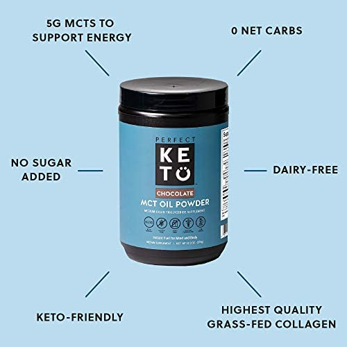 Perfect Keto MCT Oil C8 Powder, Coconut Medium Chain Triglycerides for Pure Clean Energy, Ketogenic Non Dairy Coffee Creamer, Bulk Supplement, Helps Boost Ketones, Chocolate 4