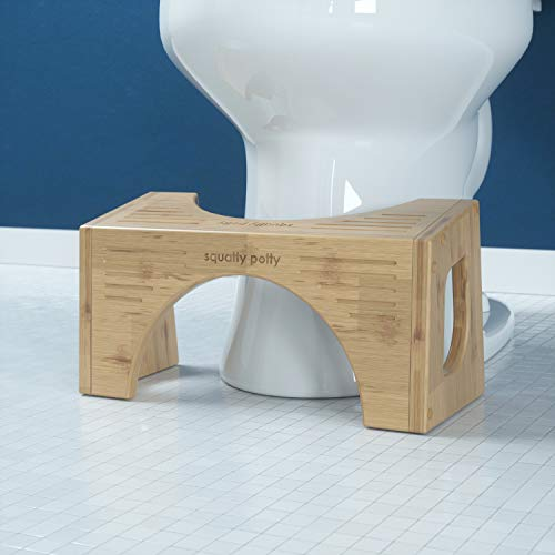 "Squatty Potty The Original Toilet Stool - Bamboo FLIP, 7"" & 9"" Height, Two Sizes-in-one"