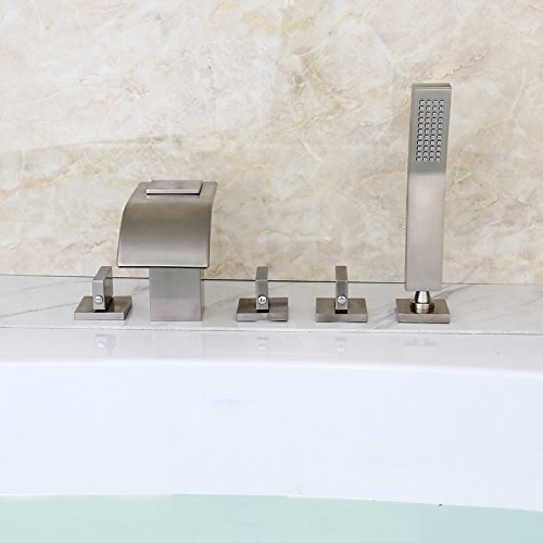 waterfall roman tub faucet brushed nickel. Lovedima Brushed Nickel Widespread Waterfall Roman Tub Filler Faucet with  Handheld Shower