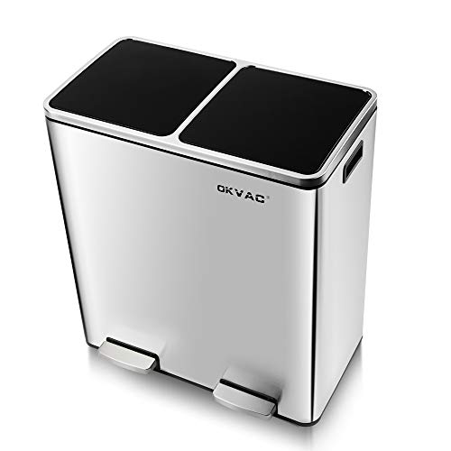 OKVAC Dual Trash Garbage Can & Double Recycle for Kitchen,Trash bin, 16 Gal Recycle Bin, Soft & Silent Lid Close, Metal Step Bin, with Dual Compartments