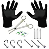 BodyJ4You 15PC Professional Piercing Kit 20G Nose Screw Rings Studs Stainless Steel Body Jewelry