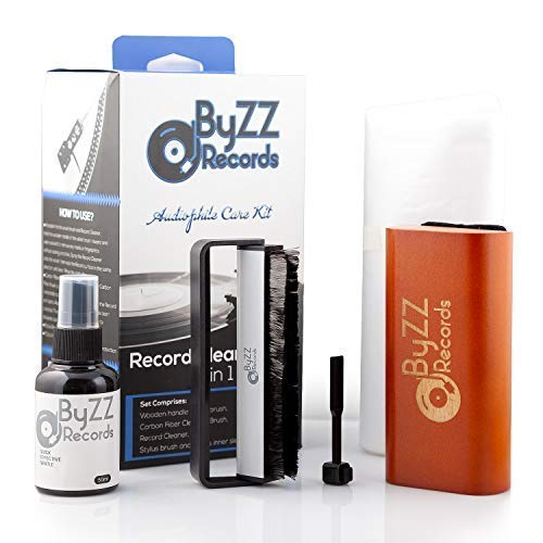 Audiophile Record CleaningKit 5 in - 1  A Must-Have Set for Any LP Vinyl Enthusiast - Includes: Disc Cleaner Fluid, Discwasher Velvet Brush, Anti-Static Brush, Stylus Brush
