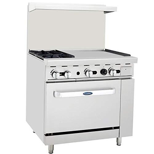 CookRite ATO-2B24G Commercial Restaurant 24' Manual Griddle 2 Burner Hotplates Natural Gas Range Cooks Standard Oven 36' - 125,000 BTU