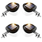 Outdoor Solar Fence Light Solar Powered Gutter Lights Waterproof LED Wall Security Lamps for Deck Railing Roof Eaves Stairs Corridor - Warm White, Pack of 4