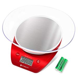 Etekcity Food Kitchen Scale, Digital Weight Grams and Oz for Cooking, Baking, Meal Prep, and Diet, 11lb/5kg, Red 12