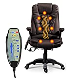 windaze Massage Chair Office Swivel Executive Ergonomic Heated Vibrating Chair for Computer Desk(Brown)