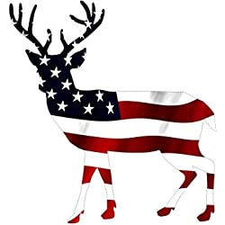 Rogue River Tactical Deer Hunter Buck Decal Sticker Silhouette American Flag USA Large 5x5 Inch Patriotic Decal Auto Bumper Sticker Vinyl Car Truck RV SUV Boat Window Hunting