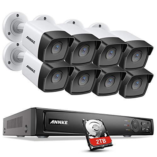 ANNKE 5MP PoE Security Camera System H.265+ 4K NVR Security System with 8pcs Outdoor 5MP IP Cameras, IP67 Weatherproof, 100ft HD Night Vision, Easy Remote Access, 2T HDD Store More Video