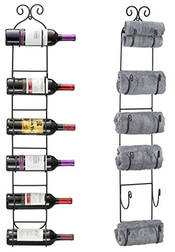 Decorative Metal Scroll Wall-Mounted Wine Rack for Six Bottles