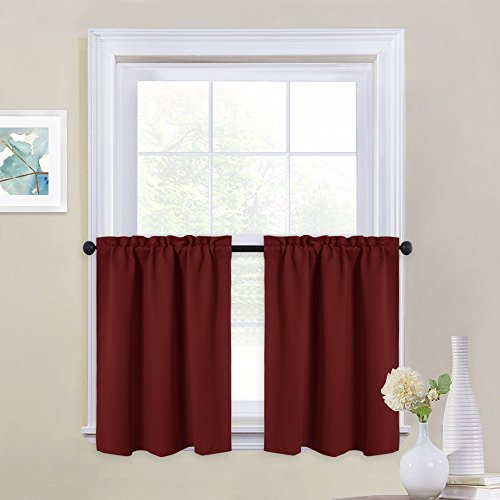 NICETOWN Small Window Curtain Valances - Pair of Thermal Insulated Plain Blackout Tailored Tier Drapes for Basement (29' Width x 24' Length, Burgundy Red)