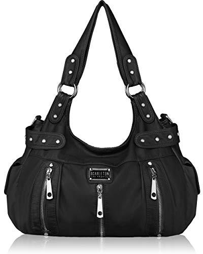 Scarleton Satchel Handbag for Women, Ultra Soft Washed Vegan Leather Crossbody Bag, Shoulder Bag, Tote Purse, H1292