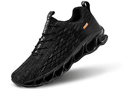 JIYE Men's Running Sports Shoes Free Transform Flyknit Fashion Casual Sneakers,Black,8US-Men/9.5US-Women