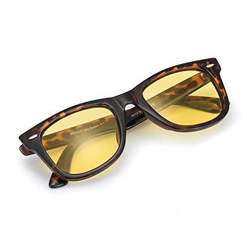 Myiaur Night Vision Glasses for Driving for Women Yellow Lens Anti-glare Cloudy/Rainy/Foggy/Nighttime (Tortoiseshell/Yellow Polarized Glasses)