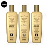 Brazilian Keratin Hair Treatment Set by Calily Life Professional Grade Blowout Kit Includes Clarifying Shampoo, 100% Formaldehyde Free Straightening Serum and Silk Finnish Conditioner - 3 Step System