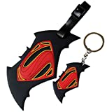 Superman vs Batman Logo Soft Silicone Luggage Name Tag ID Holder with Keychain