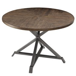 Homelegance Fideo 45″ Round Industrial Style Dining Table, Pine