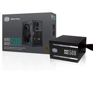 Cooler Master MWE 500 Bronze, 80+ Bronze Certified 500W Power Supply, 3 Year Warranty