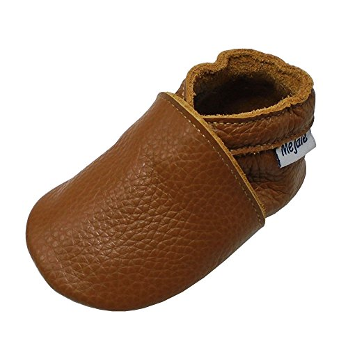 Mejale Baby Soft Soled Leather Moccasins Anti-Slip Infant Toddler Shoes First Walkers(Brown,6-12 Mos)