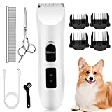 Nicewell Dog Clippers Cat Shaver Grooming Set, Low Noise Electric Pet Grooming and Trimming Clippers Kit, USB Rechargeable Cordless Dog and Cat Hair Shaver (Concise White)