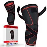Athledict Knee Brace Compression Sleeve with Strap for Best Support & Pain Relief for Meniscus Tear, Arthritis, Running, Basketball, MCL, Crossfit, Jogging, Post Surgery Recovery for Men & Women, L