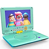 COOAU Portable DVD Player Upgraded 12' with HD Swivel Screen, Support All Region & Full DVD Format Discs, 1080P Video Files. Front Control Button and IR Signal, Battery Indicator, Powder Blue