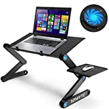 Ultra-Large (23.2') Adjustable Laptop Stand, Foldable Aluminum Laptop Desk/Table, Office Laptop Riser Large Cooling Fan & Mouse Pad Side, Lightweight Portable Bed/Sofa/Couch Lap Tray (Black)