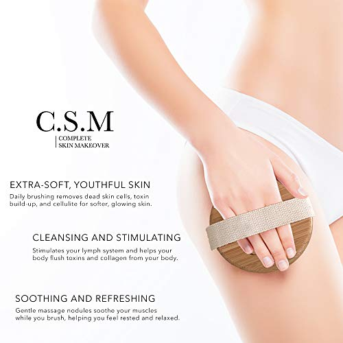 C.S.M. Body Brush for Wet or Dry Brushing - Gentle Exfoliating for Softer, Glowing Skin - Get Rid of Your Cellulite and Dry Skin, Improve Your Circulation - Gentle Massage Nodes 4