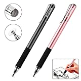 Capacitive Stylus Pens-Auorld Fine Point Stylus for iPad, iPhone, All Touch Screens Cell Phones, Tablets, Laptops Bundle with 6 Replacement Tips (Black+Rose Gold)