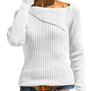 Alion Womens Slim Pullover Knit Solid Ribbed Long-Sleeves Sweater