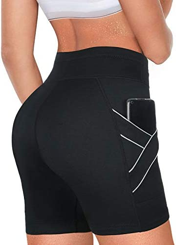 Rolewpy Women Neoprene Sauna Sweat Shorts with Pocket Hot Thermo Capris Workout Thigh Slimming Pants for Weight Loss Exercise Leggings Body Shaper 3