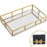 Perfume Organizer, Perfume Tray,Vanity Tray, Jewelry Tray Dresser Tray, Decorative Tray Jewelry Perfume Organizer Makeup Tray Gold Mirror Tray for Vanity, Dresser, Bathroom, Bedroom Gold