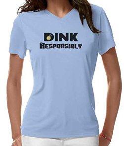 """Pickleball Up """"Dink Responsibly"""" Dri Fit Women's V-Neck Shirt (Light Blue, Large)"""